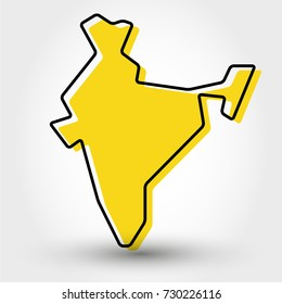 yellow outline map of India, stylized concept