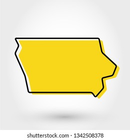 yellow outline map of Iowa, stylized concept