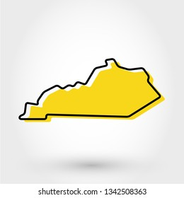 yellow outline map of Kentucky, stylized concept