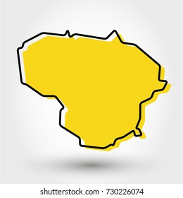 yellow outline map of Lithuania, stylized concept