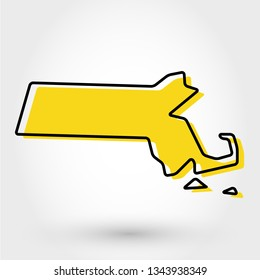 yellow outline map of Massachusetts, stylized concept