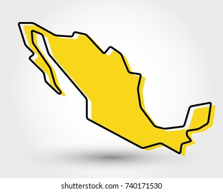 yellow outline map of Mexico stylized concept