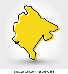yellow outline map of Montenegro