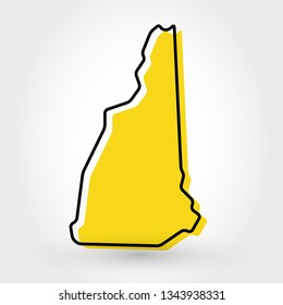 yellow outline map of New Hampshire, stylized concept