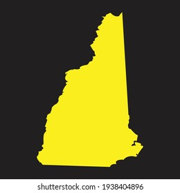 Yellow outline map of New Hampshire, stylized concept, New Hampshire yellow map on black background vector,high detailed isolated vector illustration of us state, eps10,blank Vector for Your Website.