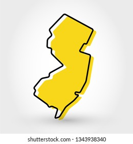 yellow outline map of New Jersey, stylized concept