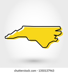 yellow outline map of North Carolina, stylized concept