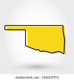 yellow outline map of Oklahoma, stylized concept