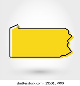 yellow outline map of Pennsylvania, stylized concept