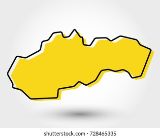 yellow outline map of Slovakia, stylized concept