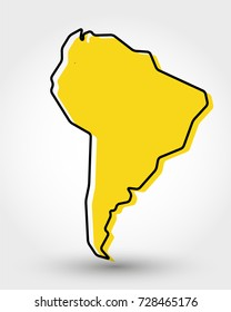 yellow outline map of South America, stylized concept