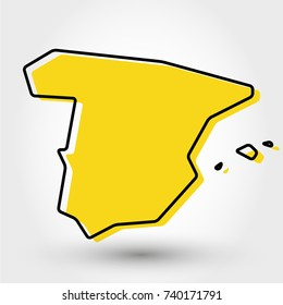 yellow outline map of Spain, stylized concept