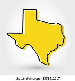 yellow outline map of Texas, stylized concept