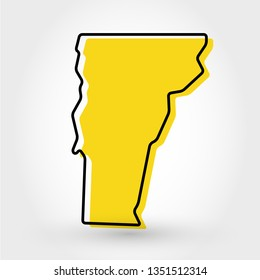 yellow outline map of Vermont, stylized concept