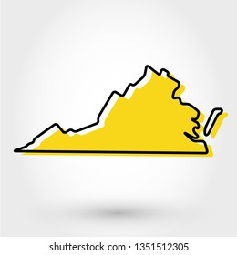 yellow outline map of Virginia, stylized concept