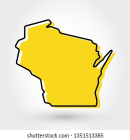 yellow outline map of Wisconsin, stylized concept