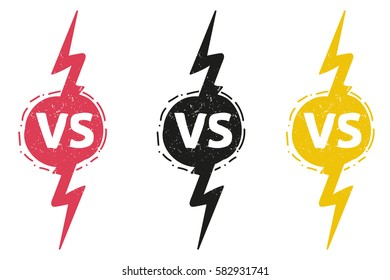 yellow outline versus sign like opposition. concept of confrontation, together, standoff, final fighting. isolated on white background.   VS