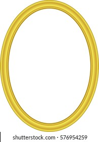 Yellow oval frame, metal gold, on a white background