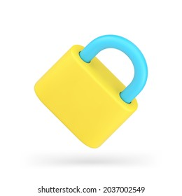 Yellow padlock 3d icon. Metallic lock with steel shackle. Safety and confidentiality information and property. Locked password and personal web account security. Vector isolated realism.