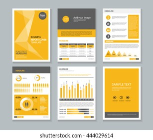 yellow page business company profile and  annual report  layout template with infographics elements , A 4 ,vector editable concept