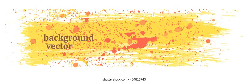 Yellow paint red splatter. Background for your design. Vector.