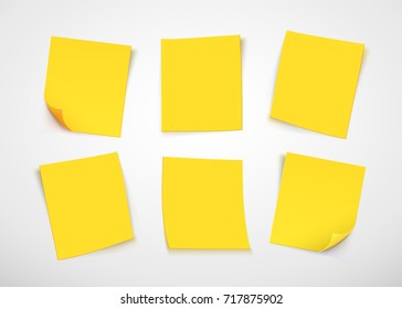 Yellow paper notes.  Vector illustration