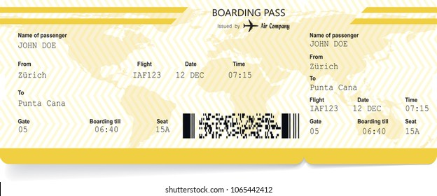 Yellow pattern of airline boarding pass to plane for travel journey. Vector illustration
