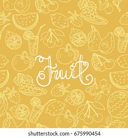 yellow Pattern with fruits and berries