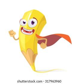 yellow pencil cartoon character in a red raincoat superhero