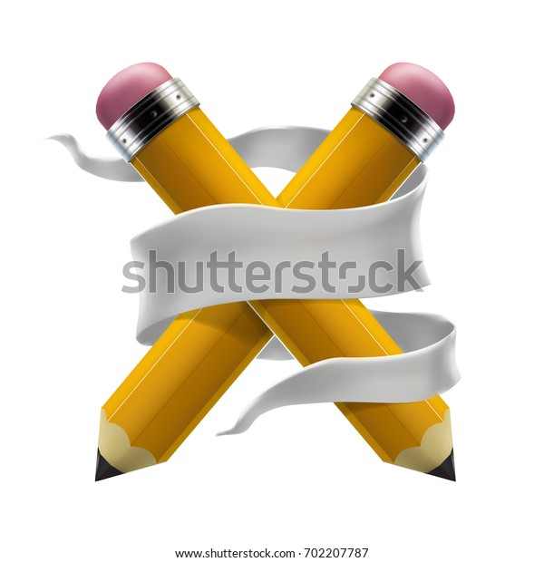 Yellow pencils crosswise and back to school lettering banner isolated on white background. Realistic 3d vector illustration. Education and creativity concept.