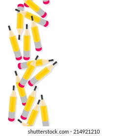Yellow pencils messy seamless vertical border with isolated elements on white background