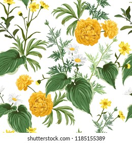 Yellow peonies, daisies and  many kinds of plants, herbs and leaves. Seamless beautiful vector pattern.