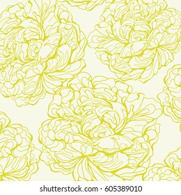 Yellow peony silhouette on a white background