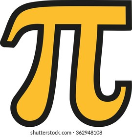 Yellow pi symbol with black outline