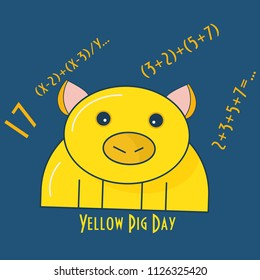 Yellow Pig Day Vector Illustration. Yellow Pig Silhouette and Prime Number 17, and some equations.