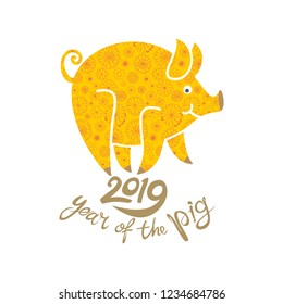 Yellow Pig in floral decoration symbol of the upcoming 2019. Year of the Yellow Earth Pig on the Chinese Calendar. 2019.