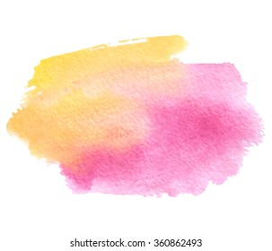 Yellow pink orange watercolor wet brush painted smudges paper texture isolated stain on white background. Colorful abstract wash hand drawn art element for design, print, icon, template, web, cover