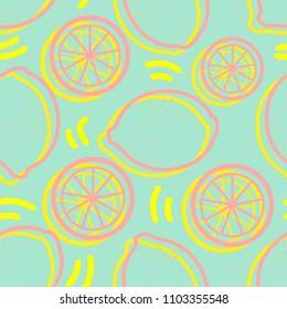 Yellow and pink outline lemon random on blue background. Seamless pattern background design for Summer season or fruit in vector illustration.