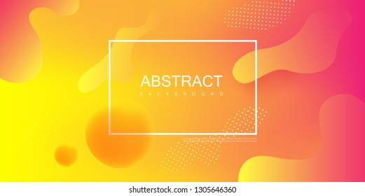 Yellow and pink spectrum template with white frame and abstract pattern. Creative solution for invitation, booklet or presentation design. Vector paper background.