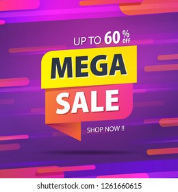 Yellow pink tag Mega sale 60 percent off promotion website banner heading design on graphic purple background vector for banner or poster. Sale and Discounts Concept.