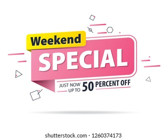 Yellow pink tag Weekend special 50 percent off promotion website banner heading design on graphic white background vector for banner or poster. Sale and Discounts Concept.