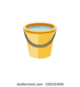 Yellow plastic bucket full of water flat cartoon vector illustration icon isolated on white background. Bucket household items for cleaning the house and gardening.