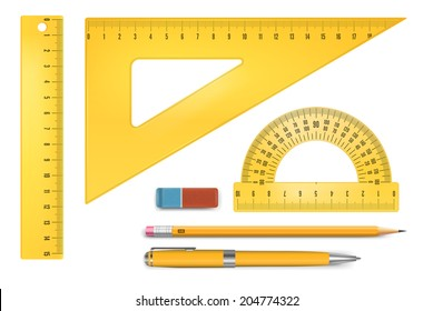 Yellow plastic ruler instruments and school equipment. Vector illustration.