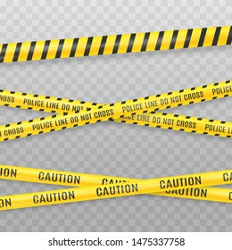 Yellow police tape isolated on transparent background. Crime scene tape vector illustration. Danger zone designation. Vector illustration