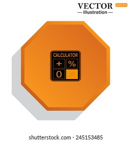 Yellow polyhedron on a white background with shadow, calculator, vector illustration, EPS 10