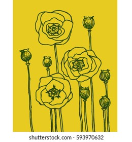 yellow poppies vector art