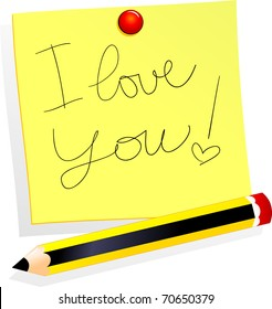 """A yellow post it says """"I love you!"""" Vector"""