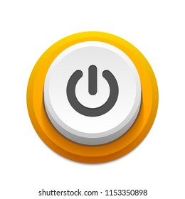 Yellow power push-button with shadow. Round shutdown illustration. On/Off icon interface.