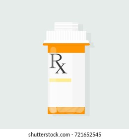 Yellow prescription rx bottle icon. Medical clipart isolated on white background