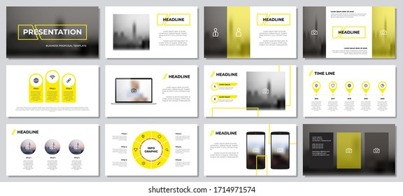 yellow presentation templates element with white background. infographics with laptop and smartphone mockup vector. can be used for presentation slide, corporate report, business, annual report.